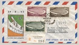 Suriname - 1953 - Serie Opening Stadion Paramaribo Op  R-FDC Naar Naarden - Atletiek Athletics Sport - Suriname ... - 1975