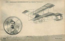 PIE 17-T-4497 :  AVIATEUR CAMMERMANN SUR BIPLAN FARMAN - Aviateurs