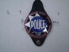 Plaque Police Sur Cuir,dit étoile Sheriff,état Neuf - Police