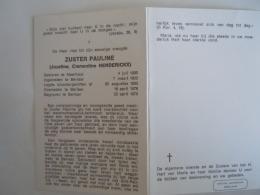 Doodsprentje Image Mortuaire Soeur Non Zuster Pauline Jozefine Clementine Henderickx Meerhout 1909 Berlaar 1978 - Imágenes Religiosas