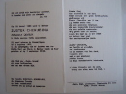 Doodsprentje Image Mortuaire Soeur Non Zuster Cherubina Augusta Deveux Hoepertingen 1912 Berlaar 1986 - Imágenes Religiosas