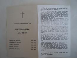 Doodsprentje Image Mortuaire Soeur Non Zuster Aloysia Celine De Rop Berchem 1896 Berlaar 1986 - Imágenes Religiosas