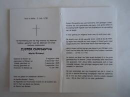 Doodsprentje Image Mortuaire Soeur Non Zuster Chrisantha Maria Brisaert Kester 1908 Berlaar 1991 - Imágenes Religiosas
