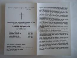 Doodsprentje Image Mortuaire Soeur Non Zuster Menandra Anna Eikenaar Bree 1912 Berlaar 1991 - Imágenes Religiosas