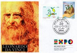Algeria 1703/4 FDC Leonardo Da Vinci Expo Milano 2015 Famous Universal Exposition Milan Italie Peintre Maler Painter - 2015 – Milan (Italy)