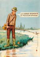 CPSM Sport Pêche Pêcheur Pêche à La Ligne Viande Poisson Illustrateur L. CARRIERE  N° 50403 - Carrière, Louis