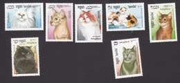 Cambodia, Scott #852-858, Mint Hinged, Cats, Issued 1988 - Cambodge