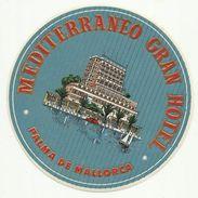 Palma De Mallorca - Luggage - Mediterraneo Gran Hotel - Labels Mint - Excellent - Hotel Labels