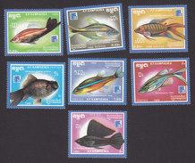 Cambodia, Scott #876-882, Mint Hinged, Fish, Issued 1988 - Cambodia
