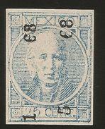 J) 1868 MEXICO, HIDALGO'S HEAD, IMPERFORATED, 25 CENTS BLUE, MN - Mexico