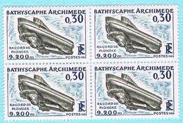"FRANCE NEUF 1963 - Y&T 1368 X 4 - 0.30c Bathyscaphe ""Archimed"" - Unused Stamps"