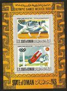 J) 1968 OMAN, OLYMPIC GAMES OF MEXICO, FENCING AND FOOTBALL, SOUVENIR SHEET, MNH - Oman