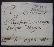 Gers Port Payé De Mirande, Sans Date, Sur LSC Pour L'évêque D'Agen - Marcophilie (Lettres)
