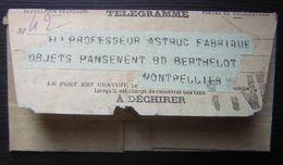 Joli Télégramme Pour Le Professeur Astruc à Montpellier, Contenu étrange, Voir Photo ! - Télégraphes Et Téléphones