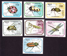 Cambodia, Scott #891-897, Mint Hinged, Insects, Issued 1988 - Cambodia