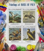 Z08 IMPERF MLD17807a MALDIVES 2017 Paintings Of Birds Of Prey MNH ** Postfrisch - Malediven (1965-...)