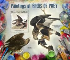 Z08 IMPERF MLD17807b MALDIVES 2017 Paintings Of Birds Of Prey MNH ** Postfrisch - Maldive (1965-...)