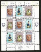 J) 1976  ISLE OF MAN, EUROPA CEPT, CERAMIC AND BEAD MEMORIES, SET WITH 2 SOUVENIR SHEET, MNH - Isle Of Man