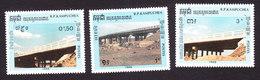 Cambodia, Scott #915-917, Mint Hinged, Bridges, Issued 1989 - Cambodge