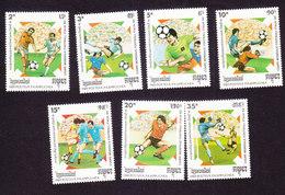 Cambodia, Scott #921-927, Mint Hinged, Soccer, Issued 1989 - Cambodja