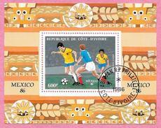République De COTE D'IVOIRE - 1986 - Bloc N° 28 - Coupe Du Monde De Football Mexico 1986 - Oblitéré - Côte D'Ivoire (1960-...)