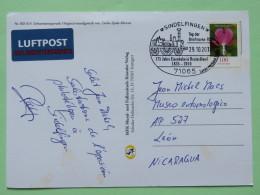 "Germany 2010 Train Cancel On Postcard """"snowmen"""" To Nicaragua - Flower - [7] Federal Republic"