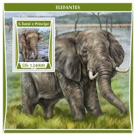 SAO TOME 2017 ** Elephants Elefanten S/S - OFFICIAL ISSUE - DH1730 - Elephants
