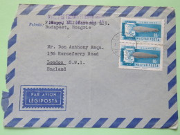 Hungary 1963 Cover Budapest To England - Zeppelin Balloon - Hungary