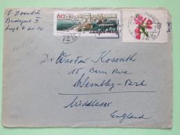 Hungary 1964 Cover Budapest To England - Bridge - Flowers - Card Inside - Hungary