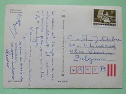"Hungary 1964 Postcard """"Almadi - Balaton Lake - Sailing Boat"""" To Belgium - Hydraulic Lift Truck - Hungary"