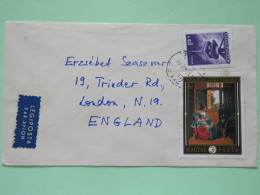 Hungary 1969 Cover To England - Television Antenna - Painting Pieter De Hooch - Woman Reading Letter - Hungary