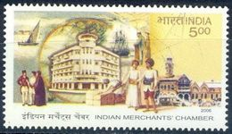 S30- India, 2006, 100 Years Of Indian Merchants Chamber. Ship, Boat, Building, City, Merchant, Trade Commerce Industry. - India
