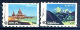 S58- India 1983. Commonwealth Day, Temple Mahabalipuram . Hindu, Hinduism, Gomukh. Glacier, Snow, Mountains. - Unused Stamps