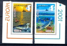 S68- Azerbaijan 2001 Fishes. Seal. Ducks. Crabs. Europa. Map. Water. Animals. - Azerbaïjan