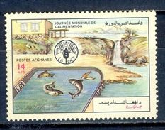 S84- Afghanistan 1983 World Food Day, FAO, Fish Breeding, Agriculture. Fish. - Afghanistan