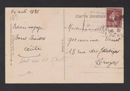 FRANCE / 1924 / Y&T N° 189 : Semeuse Camée 15c Brun - Sur CP De 1932 (oblit. DAGUIN) + Flamme TROYES Au Dos - 1921-1960: Modern Period