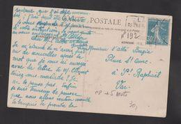 FRANCE / 1924 / Y&T N° 192 : Semeuse Camée 30c Bleu - Sur CP (Agen Hôtel D'Estrades) Daguin LA SEYNE S/MER - Marcophilie (Lettres)