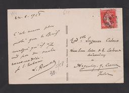 FRANCE / 1924 / Y&T N° 194 : Semeuse Camée 40c Vermillon - Sur CP (BIARRITZ) Du 24/06/1928 - Marcophilie (Lettres)