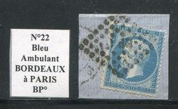 FRANCE- Y&T N°22- Ambulant BP Sur Fragment - 1862 Napoléon III.