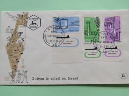 Israel 1960 FDC Cover - Planes - Map - Israël