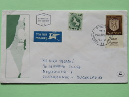 Israel 1966 FDC Cover To Yugoslavia - Tribes Arms - Map - Zodiac Lion - Israel