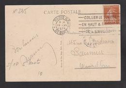 FRANCE / 1927 / Y&T N° 235 : Semeuse Fond Plein 25c Jaune-brun - Sur CP (VERSAILLES) Du19/06/1929. Flamme Paris-Départ - Postmark Collection (Covers)