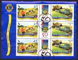 New Zealand 2005 Lions International 100 Years Minisheet Used - New Zealand
