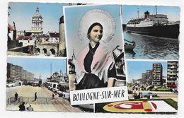 (RECTO / VERSO) BOULOGNE SUR MER EN 1962 - MULTIVUES - LEGERS PLIS  - BELLE FLAMME - FORMAT CPA VOYAGEE - Boulogne Sur Mer