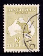 Australia 1915 Kangaroo 3d Olive 3rd Watermark Used - - 1913-48 Kangaroos