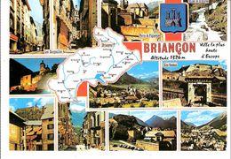 Briançon-(Hautes Alpes)-Multivues-Carte Du Département -Flamme Secap De Briançon Plus Haute Ville D'Europe 1326m-1990 - Briancon