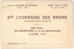 Carte Commerciale Sté Lyonnaise Des Rhums, Lyon, Solyor - Publicités