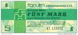 Deutschland, Germany, FORUMSCHECK Der DDR  ( Serie AJ )  5 Mark, 1979 ! - [14] Forum-Aussenhandelsgesellschaft MBH