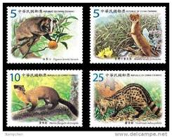 2012 Protected Mammal Species Stamps Civet Cat Weasel Sable Zibet Fruit Fauna Endangered WWF - W.W.F.