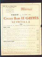 Cycles René Le Greves Et Scintilla - La Digue, St Nicolas De Redon - Tarif Velo Mars 1963 - Frankrijk